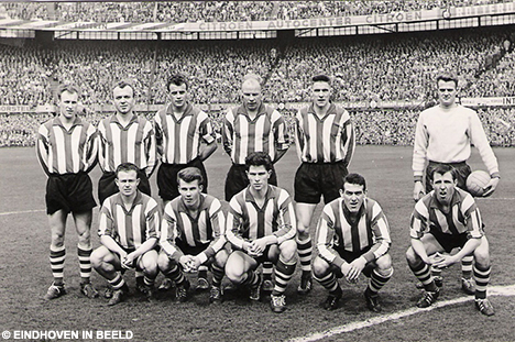 Gordon Nutt, pictured sitting on the front row on the right, ahead of a game in the Rotterdam De Kuip.