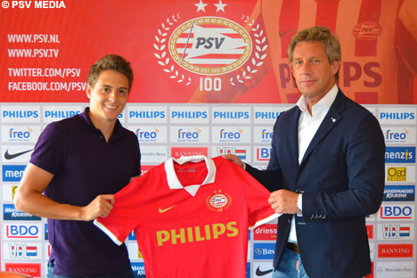 The Colombian summer signing proudly shows his new PSV shirt.