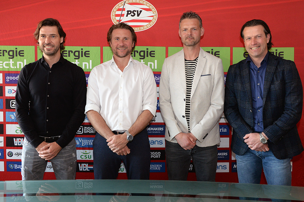 (pictured from left to right): PSV Director of football John de Jong, Twan Scheepers, Peter Uneken and head of the Academy Ernst Faber