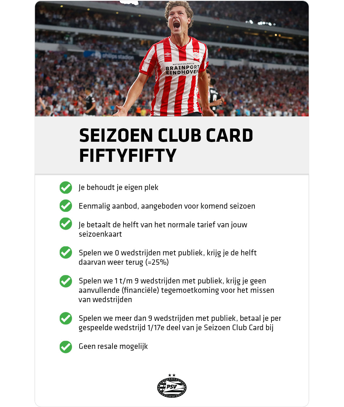PSV Seizoen Club Card | Fiftyfifty